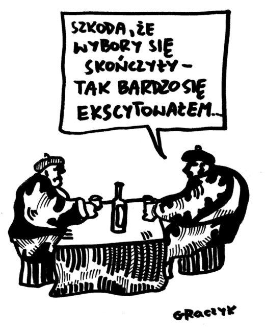 """Rysunek Michała Graczyka """"Szkoda, że wybory się skończyły — tak bardzo się ekscytowałem"""""""